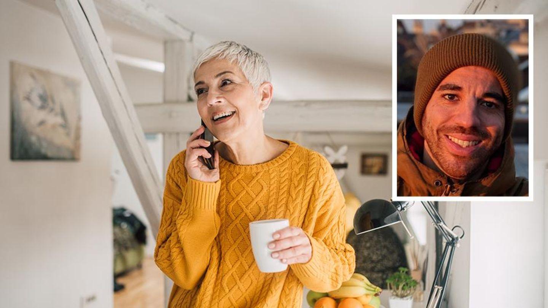 Eine Frau mit kurzen Haaren telefoniert. Daneben ein Bild von Fabio Porta