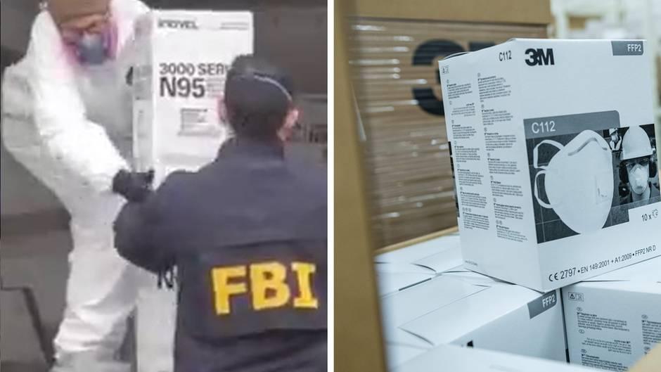 FBI-Beamte beschlagnahmen tausenden Schutzmasken von einem mann in Brooklyn.