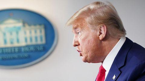 Donald Trump, Präsident der Vereinigten Staaten, bei einer Pressekonferenz im Weißen Haus