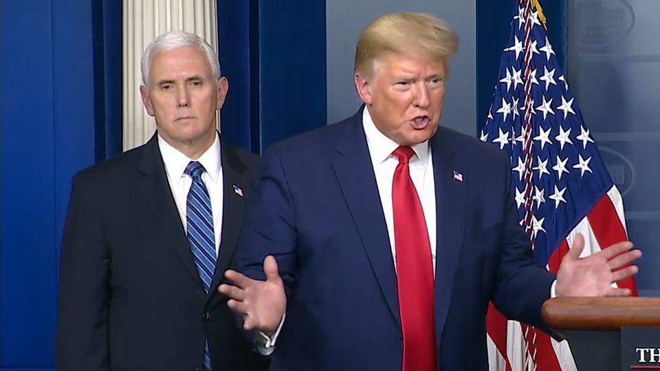 Donald Trump bei einer Pressekonferenz über die Coronavirus-Krise in den USA.