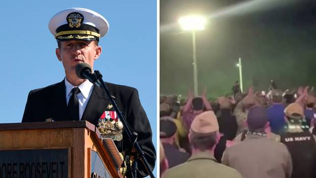 USA: Seeleute feiern den entlassen Kapitän Brett Crozier.