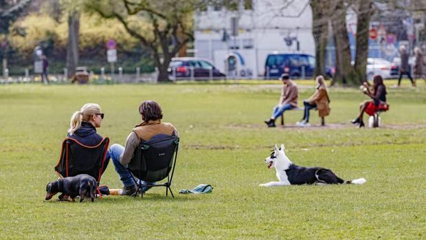 Menschen sitzen in einem Park an der Hamburger Außenalster auf der Wiese