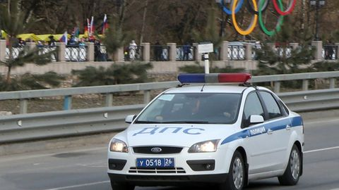 Ein russisches Polizeiauto (Archivbild)