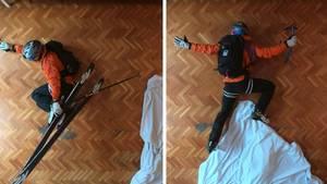 Wegen Coronavirus: Spanier verlegt Skipiste ins eigene Wohnzimmer