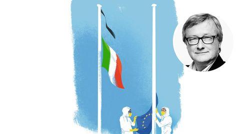 Illustration einer abgehängten EU-Flagge