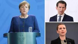 Bundeskanzlerin Angela Merkel, Österreichs Bundeskanzler Sebastian Kurz und Dänemarks Regierungschefin Mette Frederiksen