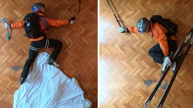 Der Freerider verlegt das Skiabenteuer wegen des Lockdowns in sein Wohnzimmer