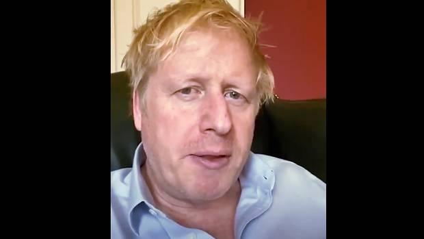 Boris Johnson. Dieses Foto stammt aus einer Videoaufnahme des britischen Premiers Anfang April aus der Downing Street