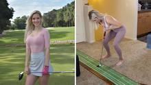 Golf-Profi locht den Ball mit ihren Brüsten ein