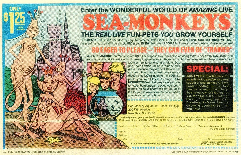 """In der Werbung lebten die """"Sea Monkeys"""" wie eine US-Familie unter Wasser."""