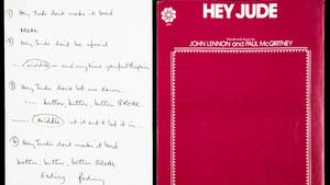 """DerLiedtext für den Beatles-Hit """"Hey Jude"""". Das Unikat wurde in den USA teuer versteigert."""