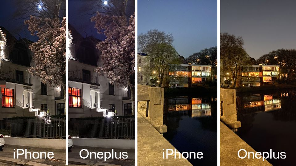 Je geringer das Licht, desto mehr Details verliert das Oneplus 8 Pro im Vergleich zum iPhone, die Bilder werden unschärfer