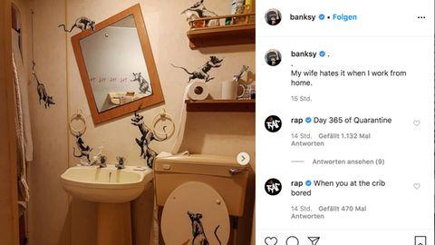 Neuer Instagram-Post: Banksy macht jetzt Kunst zu Hause – und bekommt Ärger mit seiner Frau