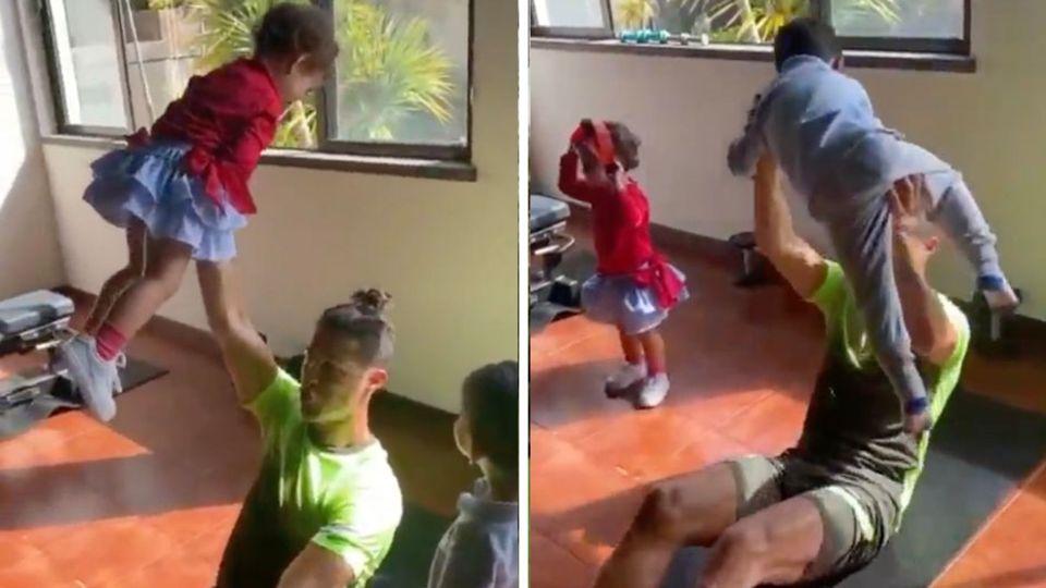 Christiano Ronaldo nutzt seine Kinder als Hanteln