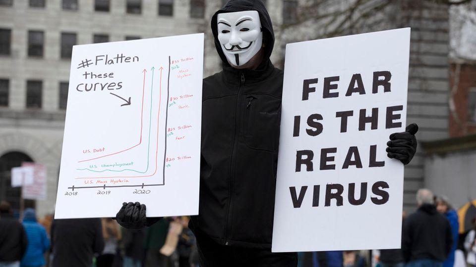 """""""Der wahre Feind ist nicht das Virus"""": Protest gegen die Corona-Einschränkungen in den USA"""