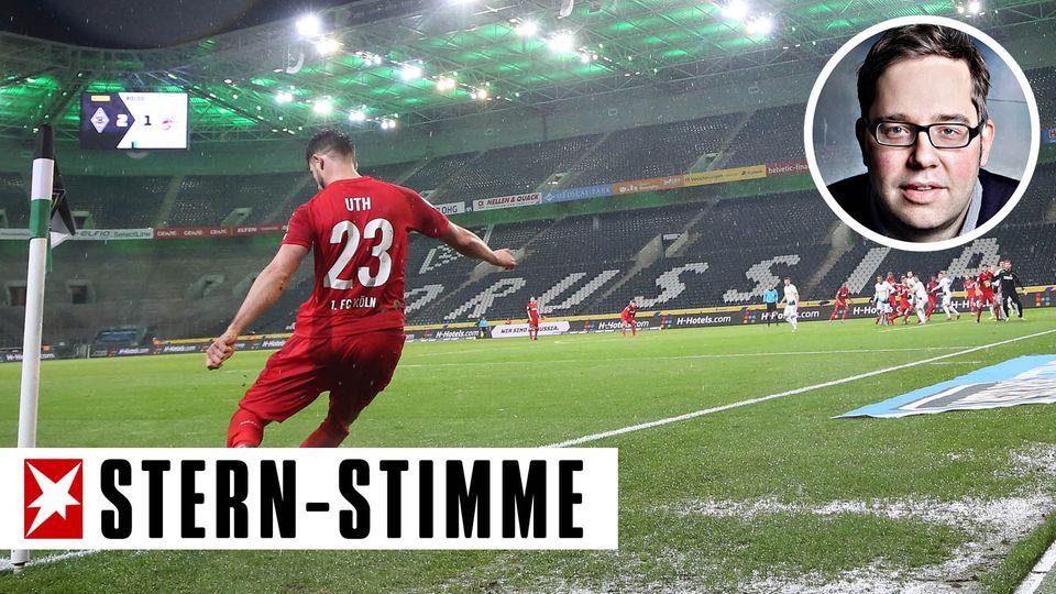 Der Kölner Mark-Alexander Uth (l) tritt einen Eckball