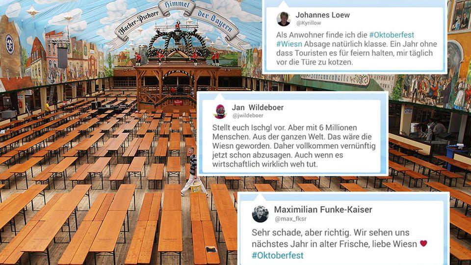 Oktoberfestzelt mit leeren Bänken, Twitterkommentare