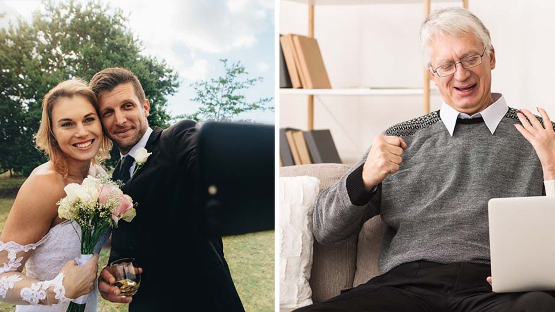 Links ein Hochzeitspaar, rechts ein erfreuter Gast, der sich das Ganze auf dem Laptop anschaut