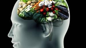 Illustration: Röntgenbild eines Kopfes mit Gemüse an Stelle des Gehirns