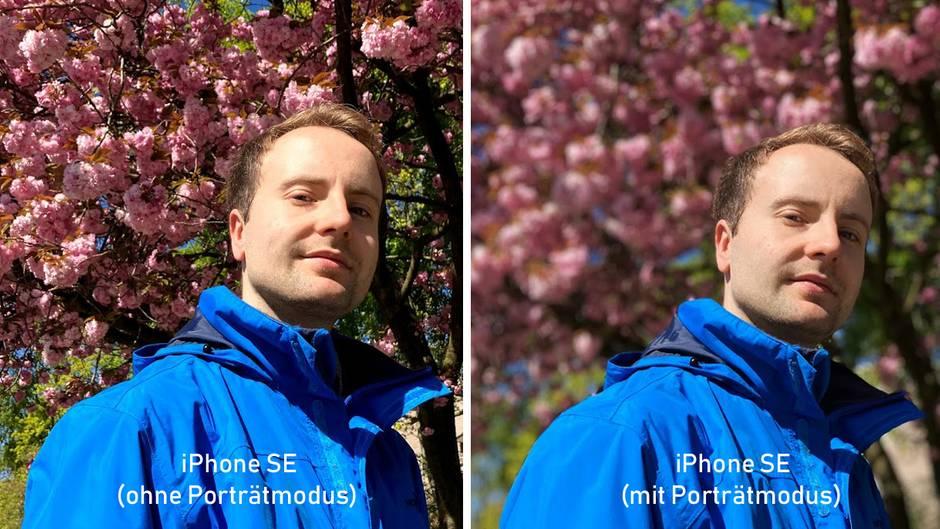 """Beide Fotos wurden mit dem iPhone SE aufgenommen. Links sieht man den """"normalen"""" Fotomodus, rechts den aktivierten Porträtmodus. Weil das SE nur eine Linse besitzt, wird die Tiefenunschärfe mit der Software simuliert."""