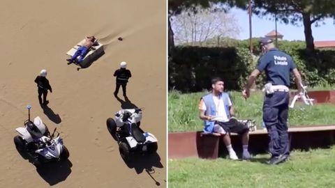 Coronavirus in Italien: Mit einer Drohne patrouilliert die Polizeieinen Strand in derProvinzRimini.