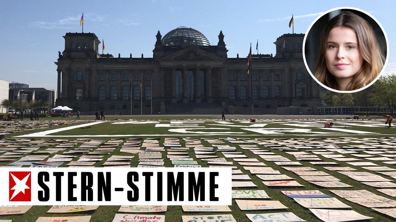 Künstlerischer Klimaprotest vor dem Reichstag in Berlin