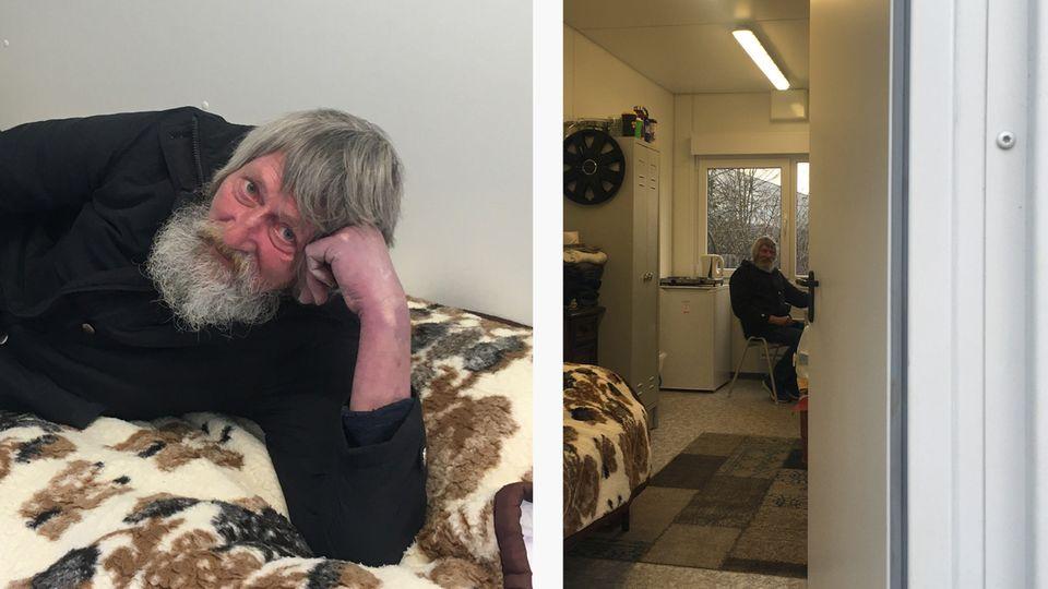 Horst wohnt in einem Einzelcontainer in Hamburg