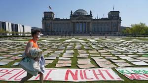 """Vor dem Reichstagsgebäude in Berlin haben """"Fridays for future""""-Aktivisten tausende Plakate auf einer Wiese ausgelegt"""