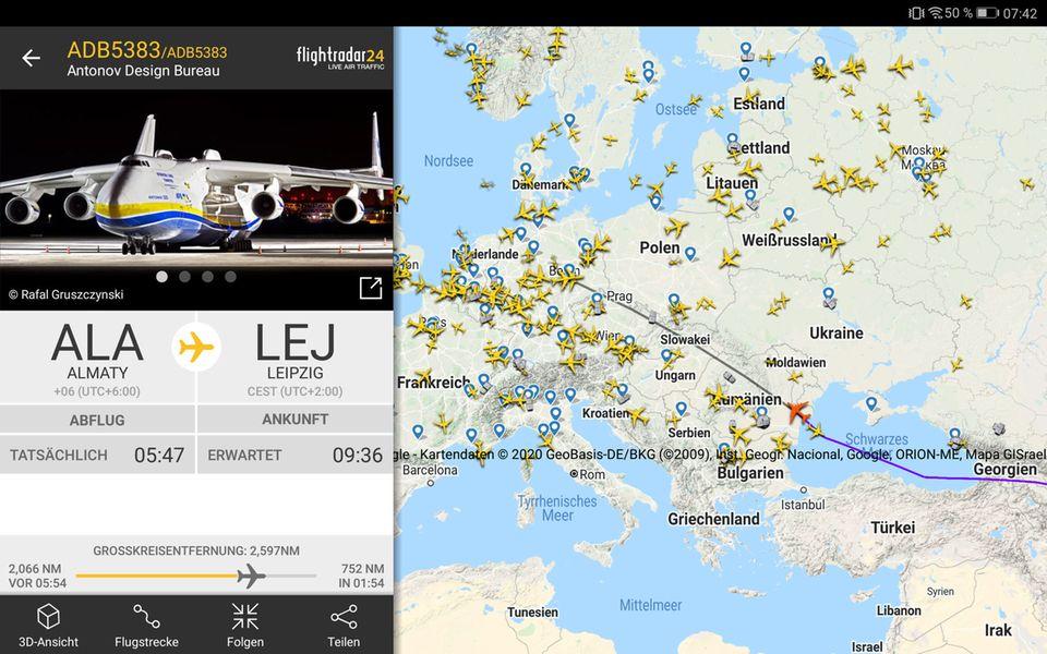 Via Almaty in Kasachstan nach Leipzig: Die Flugroute von ADB5383 am Montagmorgen