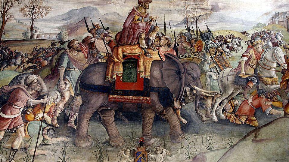 DasFresko von Jacopo Ripanda stellt Hannibals Alpenüberquerung 218 v. Chr. da.