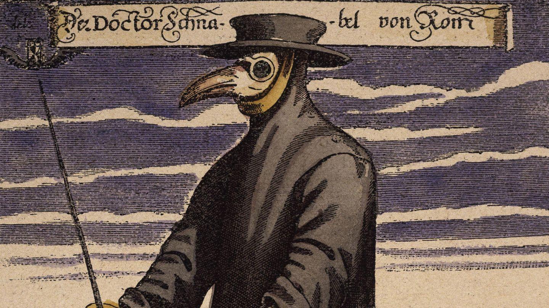 Pestarzt Dr. Schnabel von Rom - Kupferstich, nachkolotiert