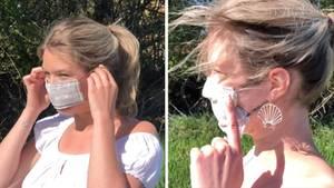 Die RTL-Reporterin zeigt, wie man seine Maske richtig trägt