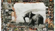 Collage: In der Mitte ein Elefant vor dem Kilimanjaro
