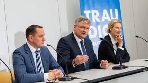Die beiden AfD-Vorsitzenden Tino Chrupalla (l.) und Jörg Meuthen, rechtsaußen sitzt die Bundesfraktionsvorsitzende Alice Weidel
