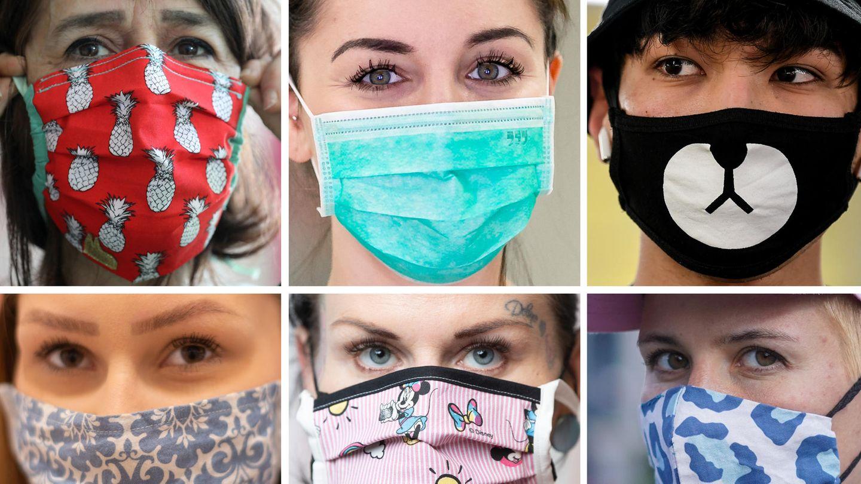 Sechs verschiedene Masken, die in der Öffentlichkeit zum Schutz gegen die Ausbreitung des Coronavirus getragen werden