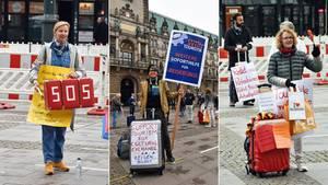 """""""Die Reisebüros sind das Herz der Touristik"""", sagt eine der Teilnehmerinnen der Demonstration auf dem Hamburger Rathausmarkt, """"wir möchten, dass es weiterhin schlägt"""""""