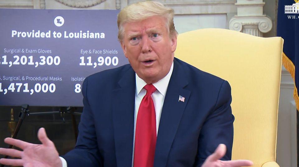 """Donald Trump leugnet seine Aussage, dass die USA """"sehr bald"""" fünf Millionen Corona-Tests täglich durchführen könnten."""