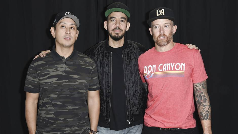 Joe Hahn, Mike Shinoda und Dave Farrel von Linkin Park