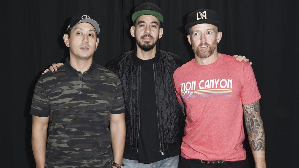 Joe Hahn, Mike Shinoda und Dave Farrel von Linkin Park