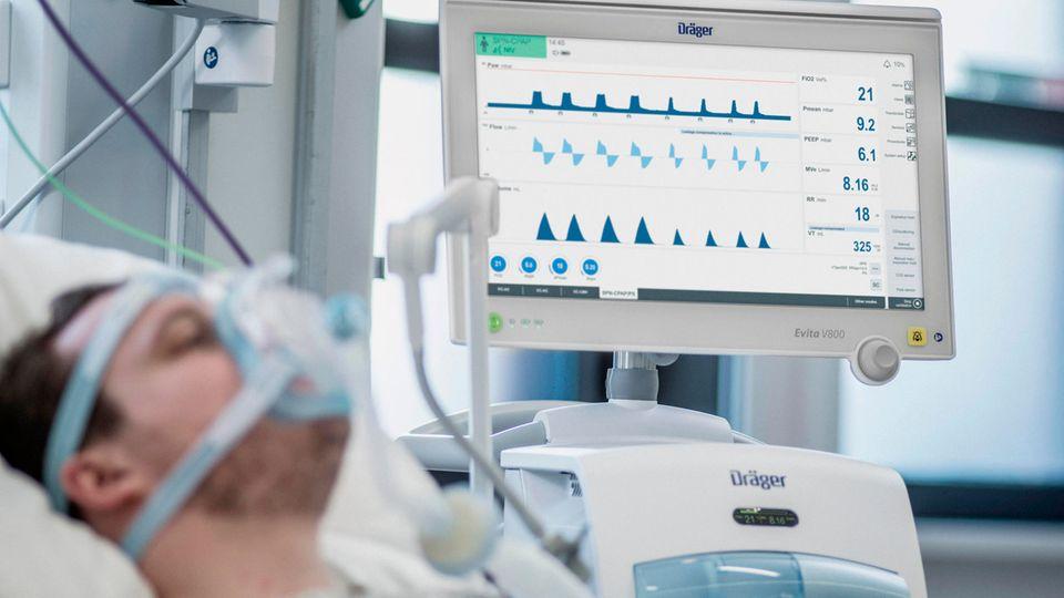 Patient am Beatmungsgerät
