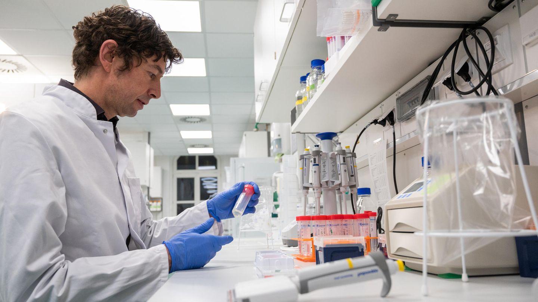 Virologe Christian Drosten schaut sich im Labor eine Probe an