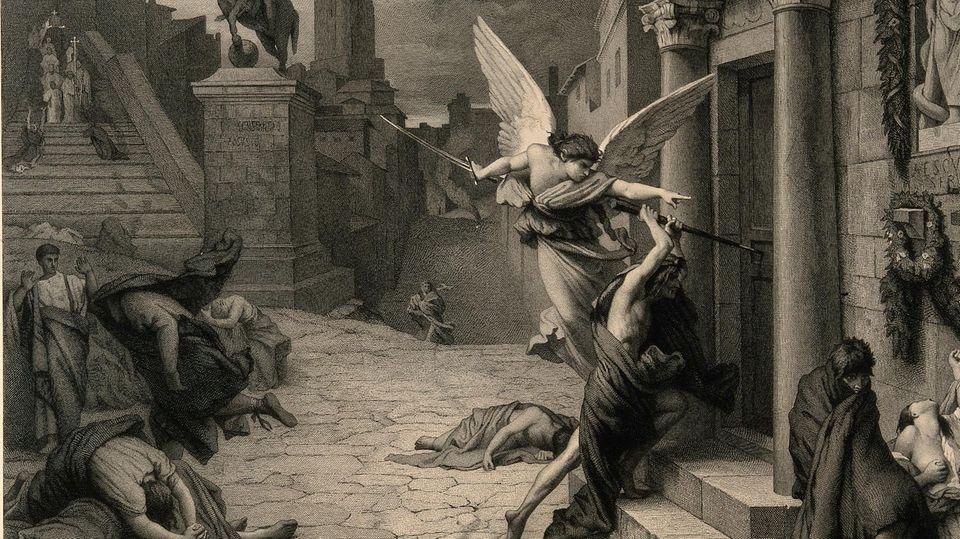 Der Engel des Todes vor einem römischenHaus.Stich nachJules-Elie Delaunay.