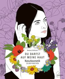 Das Buchcover. Eine Illustration einer Frau mit Blumen um den Buchtitel auf lila Hintergrund
