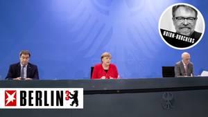 Bundeskanzlerin Angela Merkel informiert gemeinsam mit Markus Söder und Peter Tschentscher über Coronavirus-Maßnahmen