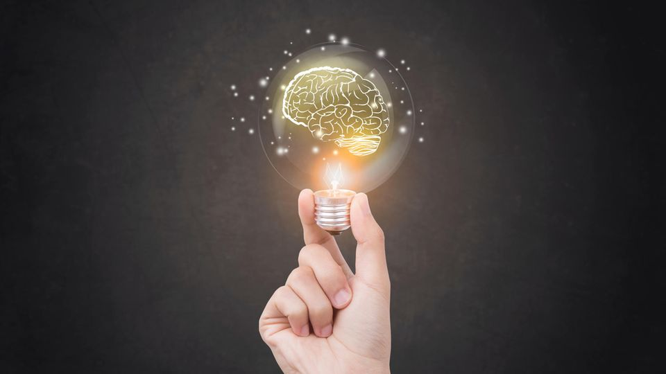 Ein Hand hält eine Glühbirne in der ein Hirn leuchtet