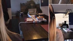 Zusammenschnitt der lustigsten Verkleidungen von Matt Fields, der im Hintergrund am Tisch sitzt – mal als Batman, mal als Waldo