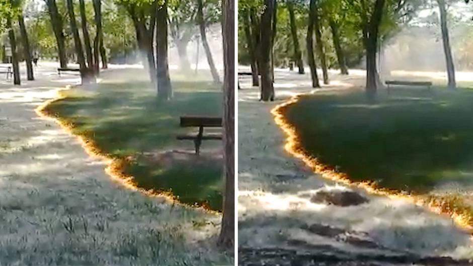 Parkbrand in Spanien: Feuerwehr warnt vor gefährlich schönem Schauspiel