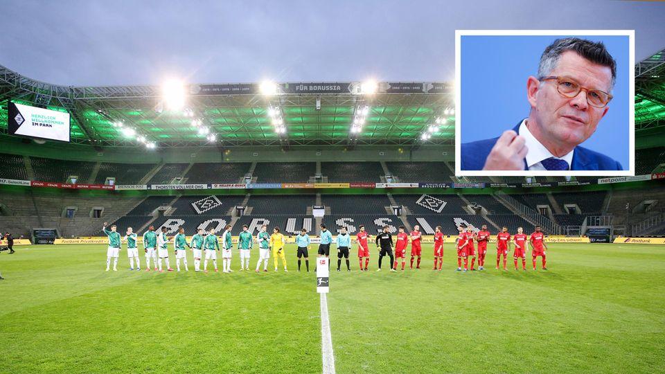 Die Mönchengladbacher und die Kölner Spieler stellen sich zum Mannschaftsfoto. Kleines Foto:Der langjährige Ethikrats-Vorsitzende Peter Dabrock.