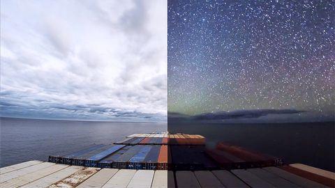 Zeitraffer-Video von einem Containerschiff – Timelapse