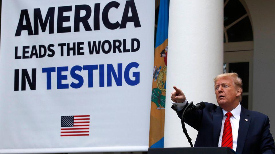 Donald Trump, Präsident der USA, spricht über die Lage der Covid-19-Pandemie